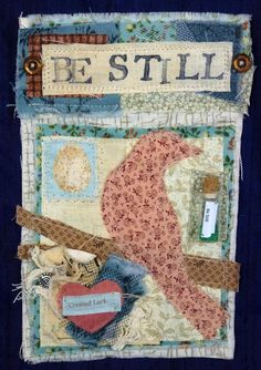 I have recently discovered that I LOVE doing fabric collages! Here are two examples of my recent work in that style,which I made for my pa...