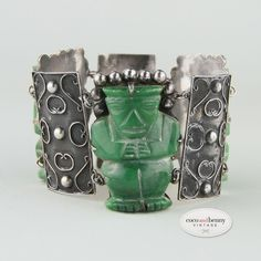 HUGE Vintage Carved Jade Art Deco Mexican Sterling Silver Bracelet Mayan 40s