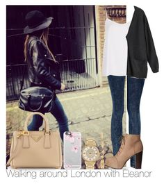 """Walking around London with Eleanor"" by irish26-1 ❤ liked on Polyvore featuring Prada, Casetify, Michael Kors, Boohoo, Topshop, H&M, Monki and Charlotte Russe"