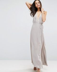 Lace Insert Cami Wrap Maxi Dress by ASOS. Maxi dress by ASOS Collection, Woven fabric, Plunge neck, Wrap front, Tie detail, Lace trim, Strappy back design, Dee...
