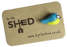 By the Shed Blue Tit Bird Pin Badge  Lapel Badge  Tie by BytheShed