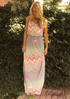 PASTEL CHEVRON Lovely and light, we're all loving today's chevron maxi on Carly. The colors are soft, highlighting your summer tan. Though long, this dress could be worn casually or formally, you choose! Shop Carly's entire look today on shopriffraff.com.