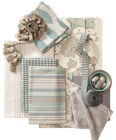 These colors = Tranquility...Muted aquamarine blues and soft linen grays marry here for a serene, calming room.