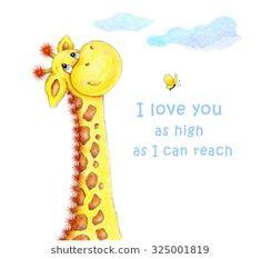 Cute Giraffe-I love you as high as I can reach