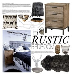"""Rustic Bedroom"" by emmy ❤ liked on Polyvore featuring interior, interiors, interior design, home, home decor, interior decorating, H&M, Garden Trading, Crate and Barrel and WALL"