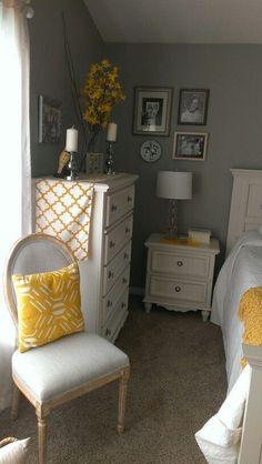 Gray and yellow bedroom #masterbedroomideasneutralgray