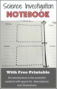 Science Investigation Notebook, can be used with any experiment in any branch of science.