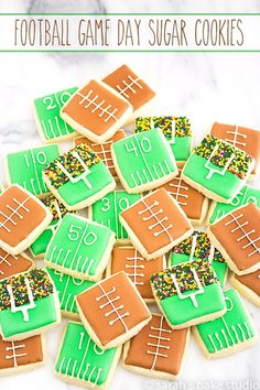 Football Game Day Sugar Cookies – bite-sized, totes adorbs, cutout sugar cookies decorated with football game day awesomeness; nothing says Super Bowl like these tasty decorated sugar cookies! #decoratedsugarcookies #sugarcookies #cookies #football #decoratedcookies #footballcookies #footballfood #superbowldesserts #footballdesserts #footballs #yardlines #sprinkes #gamedaycookies