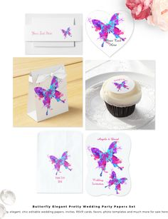 A very pretty design with elegant butterflies in tones of pink, purple and teal blue done in an artistic paint splatter effect on white or gold papers. A truly chic, elegant and stylish graphic ideal for weddings and birthday parties alike, invitations with lots of matching products; favor boxes, sweet candy bags, stickers, RSVP cards and much more.All items in the set can be edited to suit your needs.Your guests are bound to be impressed with this beautiful design setting the tone for a…