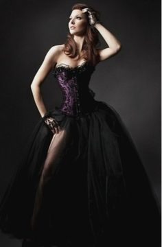 Plum and Black Burlesque Tulle Corset Dress 55fd8f4e0378