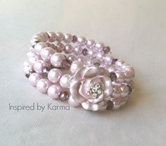 This gorgeous wrap bracelet is perfect for your special day. You get the look of severl strands of blush pink pearls accented by gorgeous shimmer. Unique Bracelets, Handmade Bracelets, Unique Jewelry, Handmade Jewelry, Pink Jewelry, Karma, Gifts For Mom, Jewelry Crafts, Blush Pink