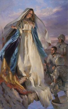 Our Blessed Mother protecting the troops. Divine Mother, Blessed Mother Mary, Blessed Virgin Mary, Catholic Art, Catholic Saints, Religious Art, Roman Catholic, Images Of Mary, Pictures Of Mother Mary