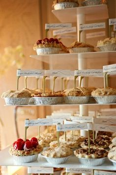 I really like the idea of a pie table. Maybe 3 different types- ex: a few regular pies, small one person pies and pie pops (seen on My Fair Wedding- David Tutera)