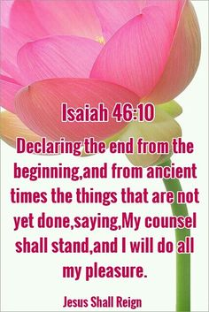 ISAIAH - Declaring the end from the beginning and from ancient times the things that are not yet done, saying, My counsel shall stand and I will do all my pleasure. Isaiah 46, Book Of Isaiah, Psalm 119, Thy Word, Word Of God, Scripture Quotes, Bible Verses, Savior, Jesus Christ