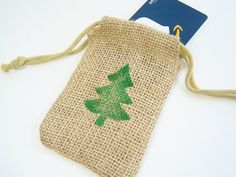 Christmas Tree Burlap Gift Bag Rustic Pine Tree by WitsEndDesign