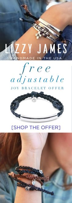Use CODE JOY20 for a FREE & NEW JOY Bracelet! Ft. the latest collection from Lizzy James jewelry in 2018 - stylish, stackable and adjustable leather bracelets. CLICK the link to learn more. Proudly handcrafted in the USA and now an Employee-Owned Company.