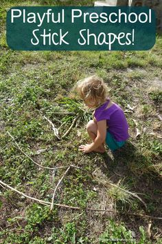 using sticks to learn shapes with! great idea for toddlers and preschool teaching out in nature!