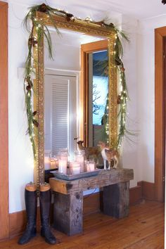 Wood bench, garland, and candle grouping