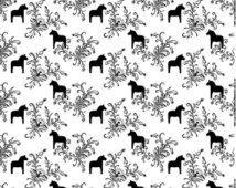 Cotton canvas fabric - Scandinavian fabric - Swedish fabric - ARVIDSSONS – Dala horse -Cotton fabric  - Half meter / Half yard