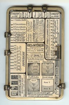"""Kaufmann's Posographe. An instrument for calculating aperture and exposure time when taking photographs in any possible situation. For outdoors, it includes settings with values like """"Snowy scene"""", """"Greenery with expanse of water"""", or """"Very narrow old street"""", """"Cloudy and somber"""", """"Blue with white clouds"""", or """"Purest blue""""."""