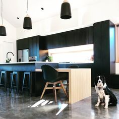 49 Incredible Concrete Floors To Make Home Livable - Page 45 of 53 Modern Kitchen Island, Kitchen Wood, Polished Concrete Flooring, Laundry Room Layouts, Black Interior Design, Workplace Design, Black Kitchens, Guest Bedrooms, Vinyl Flooring