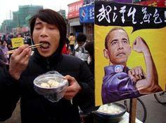 "Obama Dumplings - A road-side food vendor is selling ""Obama brand"" steamed dumplings in Yangzhou, Jiangsu Province.  Picture Source: People's Daily"