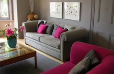 grey couch pink accents | Grey Living Room on Interior Design Project Photographs West Country ...