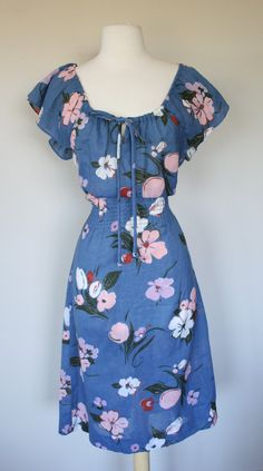 1970's bohemian floral blue dress with peasant neckline and short flutter sleeves. DottieMaeVintage