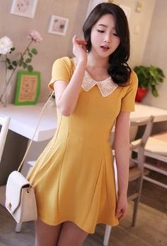 Charming Embroidery Collar Short Sleeve Dress Yellow