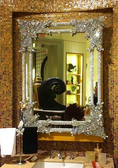 In true Vegas style... Swarovski crystal vanity mirror... just a little something for your bathroom!