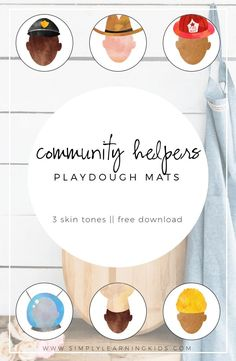 Free Community Helpers Playdough Mats! 3 different skin tones available.