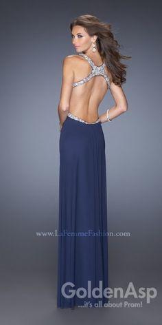 Simple Cutout Prom Dress La Femme 19729