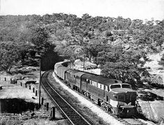 """The Overland, Adelaide Hills, 1958 With double heading of 900 class locomotives. Once the main stay of """"The Overland"""" haul, NR locomotives currently haul this train from Adelaide to Melbourne through the stunning Adelaide Hills. South Australia, Western Australia, Train Group, Australian Photography, Bnsf Railway, Train Tracks, Locomotive, Continents, Train"""