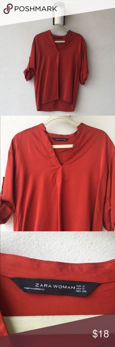 Beautiful silky Zara blouse So silky and soft but still fancy. You can dress this baby up or down! Very elegant cut.  #tunic #blouse #shirt #anntaylor #zara #h&m #katespade #tedbaker #anthropologie Zara Tops Tunics