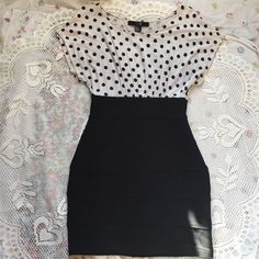 Black pencil skirt with white polka dot top This dress looks like a pencil skirt and polka dot top combo perfect for the office or a special event. Fits snugly and is flattering in all the right places! Forever 21 Dresses Midi
