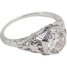 18K Antique Filigree .73 Carat Diamond Engagement Ring Butterflies On Setting