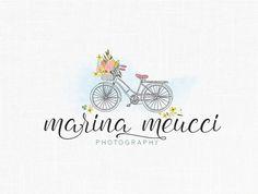 Custom Floral Bike Logo Design / Photography Logo / Florist Boutique /Romantic Logo