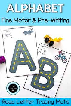These alphabet road tracing mats are a hands on way for young learners to develop pre-writing skills and fine motor skills. Students will have fun while learning the names of letters, the letter sounds and working on letter formation. Alphabet Worksheets, Alphabet Activities, Learning Activities, Preschool Alphabet, Handwriting Worksheets, Alphabet Crafts, Handwriting Practice, Writing Resources, Classroom Resources