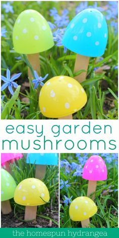 These adorable fairy garden mushrooms can be made using old plastic eggs and craft sticks. See how simple it can be to make your own kitschy garden décor on a dime. These DIY fairy garden mushrooms are one of the cutest garden décor ideas yet! Diy Fairy Garden, Magic Garden, Diy Garden Decor, Garden Decorations, Fairy Gardens For Kids, Diy Decoration, Covent Garden, Craft Stick Crafts, Craft Sticks