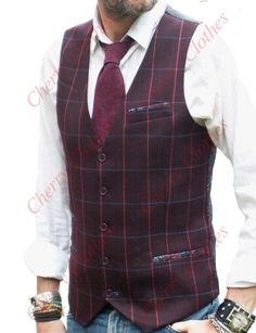 Mens Burgundy Wine Waistcoat Vest With Blue & Red Check - Slim Fit - All Sizes Burgundy Vest, Red Vest, Burgundy Wine, Red Wine, Casual Groom Attire, Casual Grooms, Urban Apparel, Western Outfits, Vest Outfits