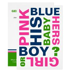 Modern Baby Gender Reveal Party Invitation
