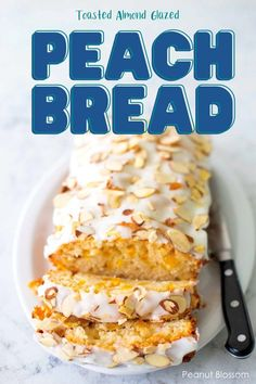 Moist and sweet homemade peach bread has a toasted almond glaze spread over the top. The juicy peaches and crunchy sliced almonds give the quick bread a delicious texture. Slice and serve for a special holiday brunch. Toasted Almonds, Sliced Almonds, Breakfast Menu, Breakfast Recipes, Peach Freezer Jam, Peach Bread, Peanut Blossoms, Seed Bread, Easy Meals For Kids