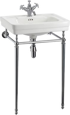 Burlington Bathrooms Contemporary Medium Basin & Square Wash Stand - BathroomAnd.co.uk