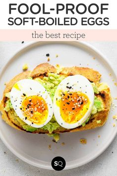 Learn how to make the best soft-boiled eggs with this fool-proof method! This method yields perfectly jammy yolks and easy-to-peel whites. Whether you're eating them as a snack, a quick breakfast or on top of avocado toast, this is truly the best way to make eggs!