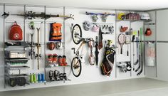 Want an organized garage? Go vertical! Whether it's an elfa system or a peg board system, you can get everything up and off of you garage floor, have all like items together, and hang everyt…