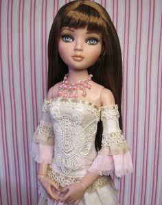 OOAK custom Ellowyne Wilde outfit. Reconstructed gown with armlets and necklace set. Shabby Chic.