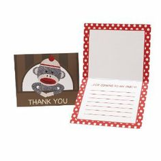 Sock Monkey Red Thank-You Notes (8) by BirthdayExpress. $3.60. Includes (8) thank you notes with envelopes.. Save 10%!