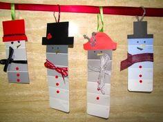 DIY Paint Chip Snowmen Ornaments