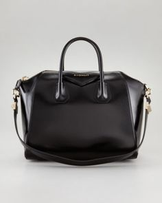 My next bag! Antigona Medium Leather Satchel Bag by Givenchy at Bergdorf Goodman. Leather Satchel, Calf Leather, Leather Purses, Leather Handbags, Satchel Bag, Black Leather, Black Satchel, Black Gold, Satchel Handbags