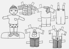 Teaching English : What are you wearing? English Worksheets For Kids, Teaching English, Paper Dolls, Doll Clothes, Art Projects, Crafts For Kids, Black And White, Fun, Handmade